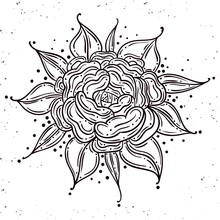 Tattoo Rose Flower.Tattoo, Mystic Symbol. Boho Print, Poster, T-shirt. Textiles. Vector Illustration Art. Vintage Engraving. Vintage Style. Traditional Art Tattoos. Blackwork. Isolated Vector