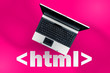 canvas print picture - HTML Hyper Text Markup Language. laptop on html tag