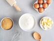 Draufsicht von Backzutaten, Vorbereitung, Kuchen backen