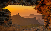 View From Natural Rock Cave At Roque Nublo, Roque Bentaiga-Gran Canaria, Spain