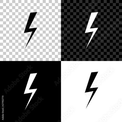 Lightning bolt icon isolated on black, white and transparent