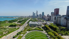 Beautiful Aerial View Of The Chicago Parks And Landmarks