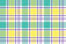 Checkered Background Of Stripes In Purple, Green, Yellow And White