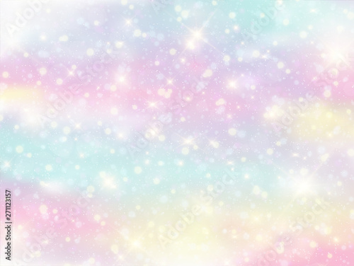 Türaufkleber Künstlich Illustration of galaxy fantasy background and pastel color.The unicorn in pastel sky with rainbow. Pastel clouds and sky with bokeh . Cute bright candy background .