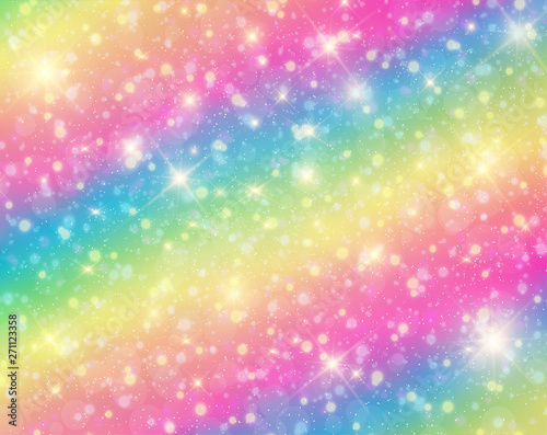 fototapeta na lodówkę Vector illustration of galaxy fantasy background and pastel color.The unicorn in pastel sky with rainbow. Pastel clouds and sky with bokeh . Cute bright candy background .