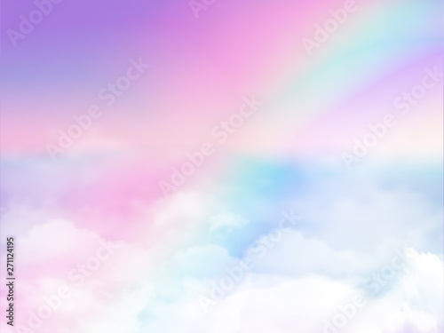 Foto fantasy magical landscape rainbow on sky abstract big volume texture fluffy clou