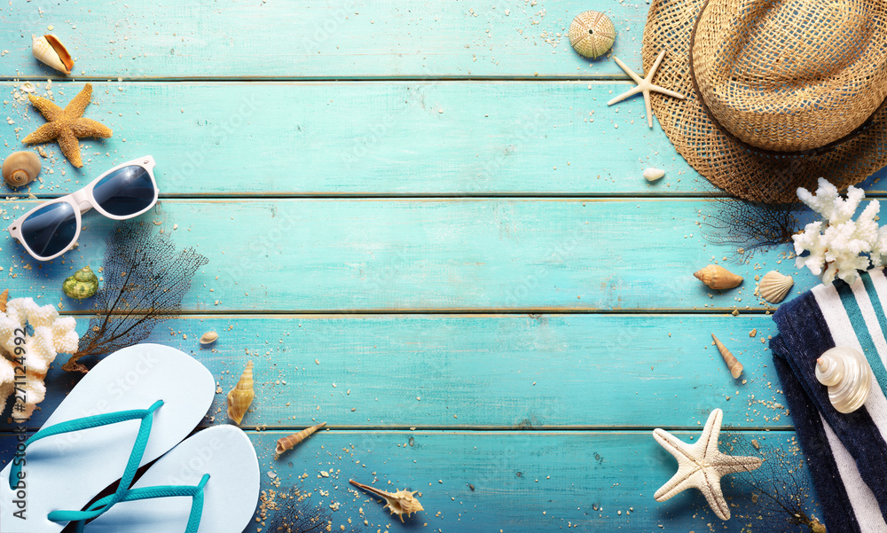 Fototapety, obrazy: Beach Background - Summer Accessories On Blue Plank