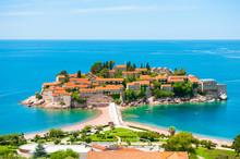 Sveti Stefan Island Near Budva, Montenegro. Beautiful Summer Landscape. Famous Travel Destination.