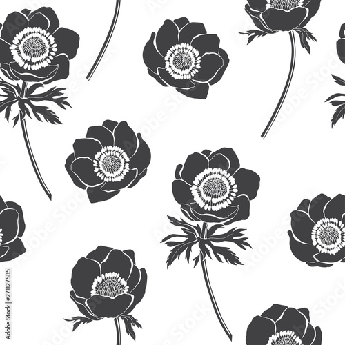 Seamless vector pattern with anemone flowers on white background Wallpaper Mural