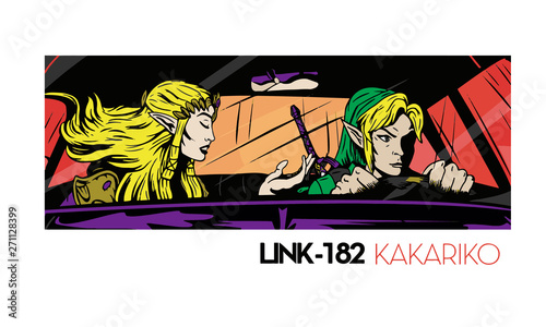 Parody Blink-182 California album cover with Legend of Zelda characters Canvas Print