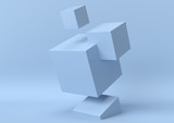 Creative minimal summer idea. Concept blue cube with pastel background. 3d render..