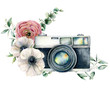 canvas print picture - Watercolor card composition with camera and anemone, ranunculus bouquet. Hand painted photographer logo with flower illustration isolated on white background. For design, prints or background.