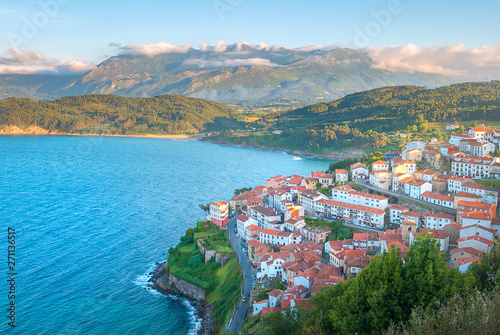 Aerial view of beautiful Lastres village in Asturias, Spain Canvas Print