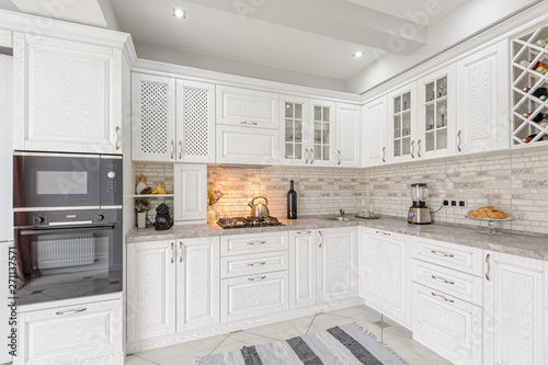 Fotografie, Obraz modern white wooden kitchen interior