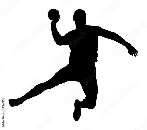 Fotomural  Silhouette noire de handballeur sur fond blanc