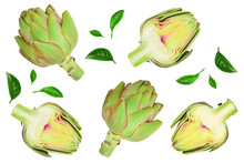 Fresh Artichokes Isolated On White Background Closeup. Top View. Flat Lay