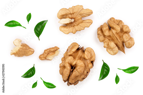 Fotografía  peelled Walnuts isolated on white background. Top view. Flat lay