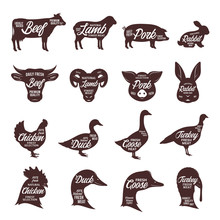 Farm Animals Silhouettes Colle...