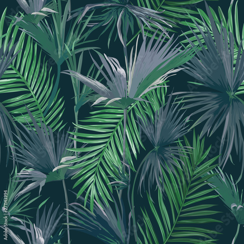 Tropical Jungle Palm Leaves Seamless Background Vector