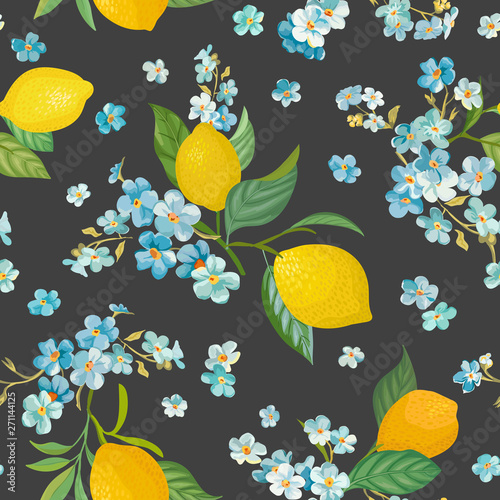 Seamless Lemon Pattern With Tropic Fruits Leaves Forget Me Not