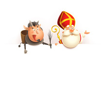 Saint Nicholas And Krampus On Board - Happy Cute Characters Celebrate Holiday - Vector Illustration Isolated On White
