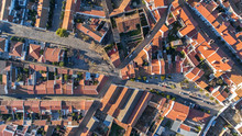 Aerial. View From Above Village Mourao, District Evora. Portugal.
