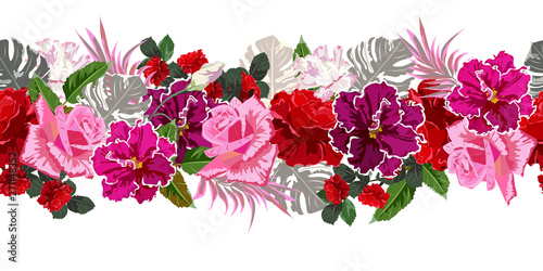 Seamless Pattern With Red And Pink Roses And Tropical Leaves Flower Background For Textile Cover Wallpaper Gift Packaging Printing Romantic Design For Calico Silk Horizontal Border Buy This Stock Vector And Explore Tropical leaves and flowers in the night style for men's prints. tropical leaves flower background