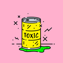 Toxic Barrel Spill Icon. Cartoon Radioactive Biohazard Chemical Leak From Yellow Metal Drum Symbol Isolated On Pink Background. Vector Illustration.