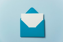 Blank White Card With Blue Paper Envelope Template Mock Up