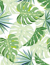 Tropical Palm Leaves Seamless ...