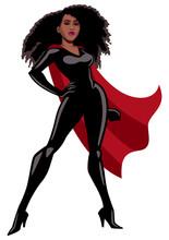 Superheroine Black On White