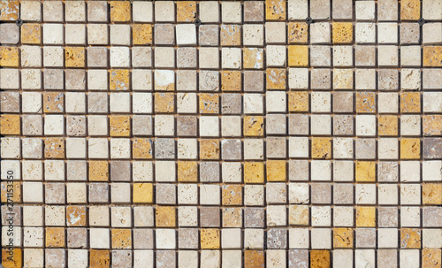 Fotografie, Obraz  Wall of high quality travertine or thermolith