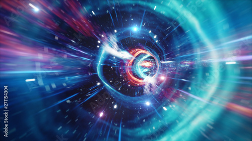 Obraz Travel through a wormhole through time and space filled with millions of stars and nebulae. Wormhole space deformation, science fiction. Black hole. Vortex hyperspace tunnel. 3D illustration - fototapety do salonu