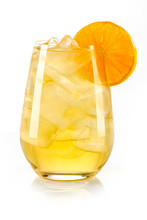Orange Yellow Drink With Ice Cubes And Orange Slice On White Background, Isolated