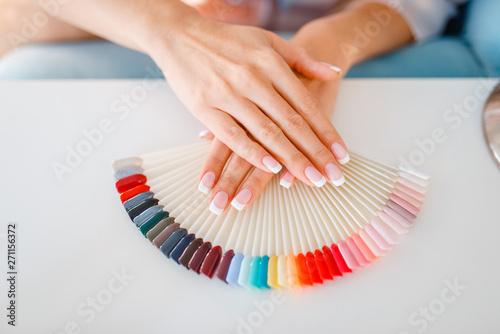 Obraz na plátne Female hands and colorful nail varnish palette