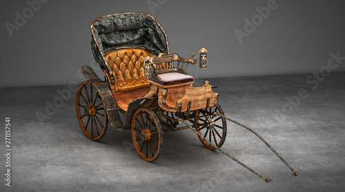 Photo Ancient empty wooden carriage, horse-drawn carriage, 3d render, 3d illustration