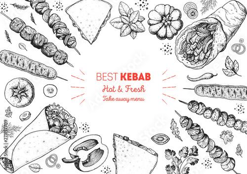 Doner kebab and ingredients for kebab, sketch illustration