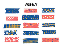 Modern Washi Tape Set With Different Patterns. Scrapbooking Collection, Border Banners Isolated On White