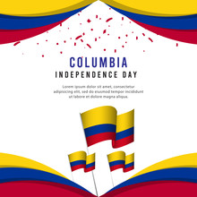 Happy Columbia Independence Day Celebration Poster Vector Template Design Illustration