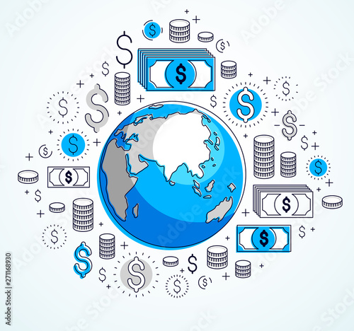 Global business concept, planet earth with dollar icons set