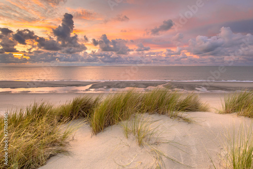 Canvas Print View over North Sea from dune