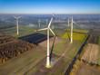 Leinwandbild Motiv Aerial view of wind turbines
