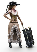 Portrait Of A Beautiful Steampunk Woman In Casual Clothing Traveling With A Suitcase On A White Background. 3d Rendering