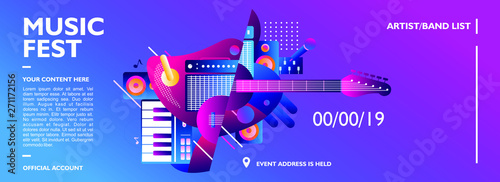 Cuadros en Lienzo Music festival banner design template for event, party and concert