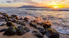 Sunset Coast - Strong Waves Rushing Up To A Rocky Coast Of Maui Island At The Sunset. Hawaii, USA.