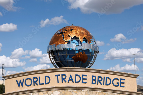 The entrance of the World Trade Bridge is seen in Laredo