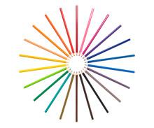 Color Pencils Arrange In Circl...