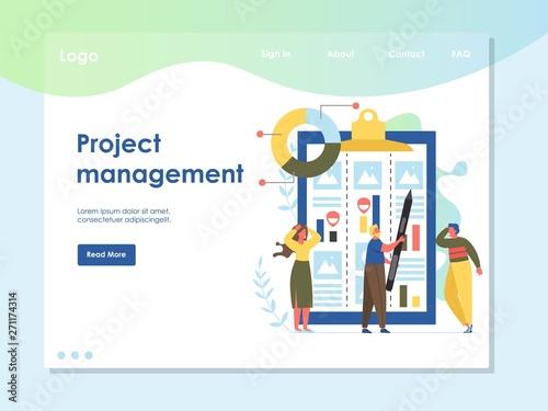 Photo  Project management vector website landing page design template