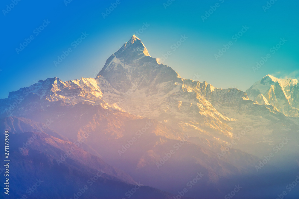 Fototapety, obrazy: The Annapurna massif in the morning time with sunrise, seen from Methlang Hill, Pokhara, Nepal.