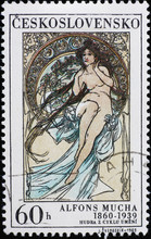 Allegory Of Music Painted By Alfonse Mucha On Stamp